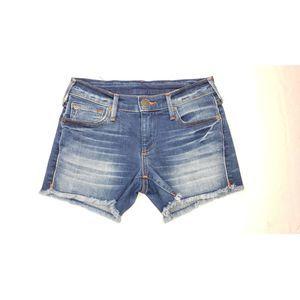 True Religion Keira Mid Rise Mid Thigh Shorts 25